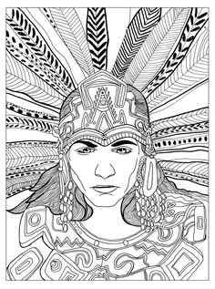 """Free coloring page coloring-adult-chief-mayan-by-olivier. A great Maya chief, by Olivier    free sample   Join fb grown-up coloring group: """"I Like to Color! How 'Bout You?"""" https://m.facebook.com/groups/1639475759652439/?ref=ts&fref=ts"""