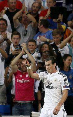 O atacante galês Real Madrid Gareth Bale comemora seu gol