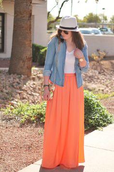 Peach maxi skirt, chambray shirt, white fedora