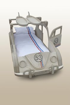 "VW Beetle ""herbie"" bed by Fun Furniture Collection with 53 bedding by Classic Reflections"