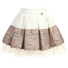 Ivory Skirt with Leopard Lace Trim, Miss Blumarine, Girl $210