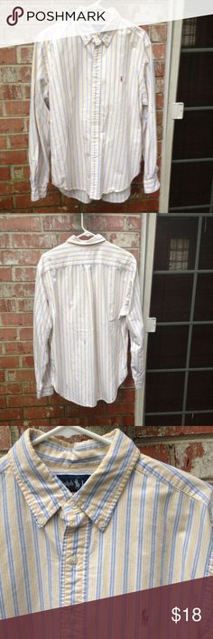 RL Men's Striped Button Down Men's Large. Classic fit. Yellow, blue and white stripes. Medium thickness. Clean, always gently washed and in great/excellent condition. My mom has 1-2 similar women's ones like this in her closet still maybe and there are similar 1-2 Men's in this closet. Ralph Lauren Shirts Casual Button Down Shirts