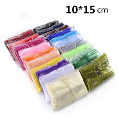 #BestPrice #Fashion Hot Selling Wholesale 500pcs/lot 10*15cm Organza Bag Mix Colors Wedding Candy Package bag Gift Bags Wrapping Packing Bag