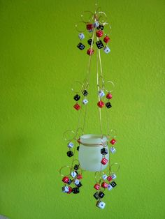 Dicey Hanging Candle Holder by whimsicalwire on Etsy, $35.00