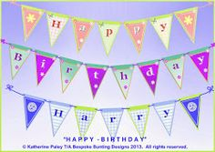 Happy Birthday bunting - choice of lettering and designs Happy Birthday Bunting, Bespoke, Lettering, Design, Taylormade, Calligraphy, Letters, Design Comics