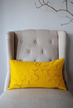 Honeycomb Golden Yellow Felt Kidney Pillow with Down by whitenest, $50.00