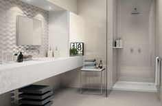 Classic elegant bathroom design decor with Sign tile collection from Atlas Concorde.