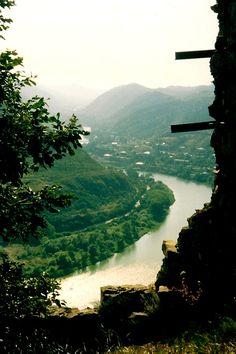 Mtkvari River seen from on high at the Jvari Monastery - Republic of Georgia