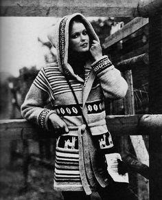 DIY Hooded Peruvian Cardigan PDF Vintage Knitting Pattern