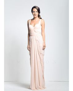 Mignon Pale pink tiered lace gown with chiffon