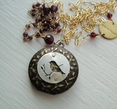 Little Bird in Brass and Gold with Garnets 24 in  by janeeroberti, $98.00