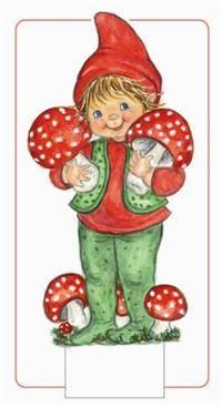 Nissepige med svampe/paddehatte/fluesvampe. kravlenisser fra julekalender - Google-Suche