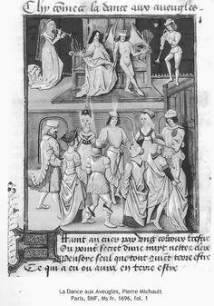 La Dance aux Aveugles, Pierre Michault, Paris, BNF, Ms fr. 1696 fol. 1 Renaissance, Hennin, Dance Of Death, Dance Project, Dance Images, Medieval Times, Bnf, 15th Century, Marie Antoinette