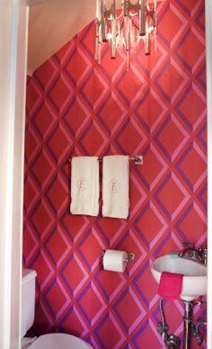 pink wallpapered bathroom