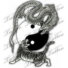 Marketplace Tattoo Tiger and Dragon Yin Yang #2794 | CreateMyTattoo.com