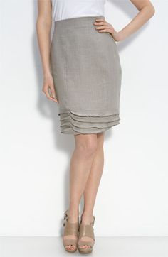 linen ruffle skirt - good idea to try at the hem of a pencil skirt