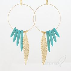 """Native Inspired// Large Hoops with Blue Turquoise Spike Horn, Statement Long Feather and Floral Beads, 4.25"""" Earrings"""