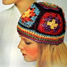 Vintage Crochet Granny Square Hat Pattern