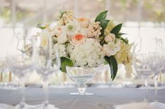 pictures of hydrangea & rose centerpieces | Centerpieces Wedding