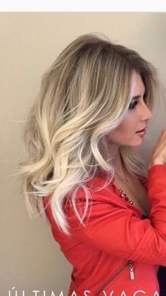 Blonde balayage shoulder length hair curls
