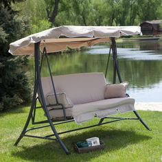 C Coast Lazy Caye 3 Person All Weather Swing Bed With Toss Pillows Cuccino