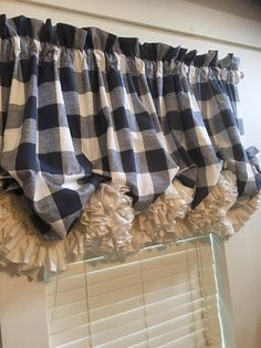 Farmhouse Chic Buffalo Check Balloon Curtain with Double | Etsy Rustic Curtains, Kitchen Curtains, Valance Curtains, Balloon Curtains, Farmhouse Window Treatments, Buffalo Check Fabric, Window Sizes, Premier Prints, Double Ruffle