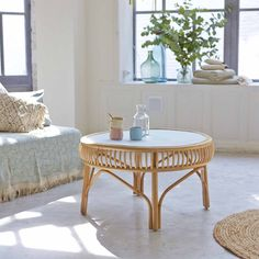 Where to find a round rattan coffee table - Table basse bois - Cane Furniture, Bamboo Furniture, Recycled Furniture, Solid Wood Furniture, Rattan Side Table, Rattan Coffee Table, Bamboo Table, Rattan Sofa, Mahogany Coffee Table