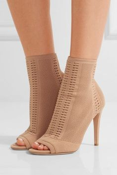 Gianvito Rossi - Vires Peep-toe Perforated Stretch-knit Ankle Boots - Sand - IT38.5