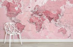 Pink World Map Wall Mural, custom made to suit your wall size by the UK's for wall murals. Custom design service and express delivery available. Vinyl Wallpaper, World Map Wallpaper, Office Wallpaper, Laptop Wallpaper, Wallpaper Desktop, Wallpaper Backgrounds, Plain Wallpaper, Screen Wallpaper, Watercolor World Map