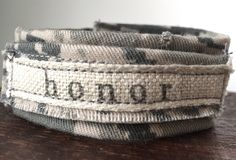 Air Force gray camouflage bracelet handcrafted from donated Air Force uniform stamped with the word HONOR. Benefits military nonprofit by ValorBands on Etsy