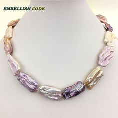 NEW irregular Rectangle shape Crude fresh water pearl choker fine jewelry statement necklace mixed color best luster for women
