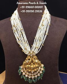 Pearl Necklace Designs, Beaded Jewelry Designs, Gold Jewellery Design, Beaded Necklace, Designer Jewelry, Cz Jewellery, Steampunk Necklace, Temple Jewellery, Emerald Jewelry