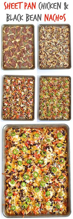 Sheet Pan Chicken and Black Bean Nachos: 32-34 tortilla chips, 15 ounce can refried black beans, 2c shredded monterey jack & cheddar cheese blend, 15 ounce can whole black beans, drained and rinsed, 11 ounce can mexi-corn, drained, 1c prepared pico de gallo, 1c chopped cooked chicken, 1-2 fresh jalapenos, thinly sliced. Preheat oven to 400°F. Line a rimmed sheet pan with foil and spray generously with non-stick cooking spray or just spray the pan generously with non-stick cooking spray.