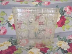 vintage mid-century detecto metal floral waste basket can soft