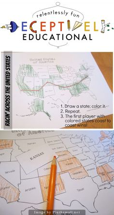 """Racin' Across the United States [a Geography game] Want a clever way to help your child learn the 50 states and their whereabouts? This game is perfect! The winner of our """"Racin' Across the United States"""" game was the first player to get states colored in a path from one coast to the other or from the Atlantic to Pacific Ocean (or vice versa)."""