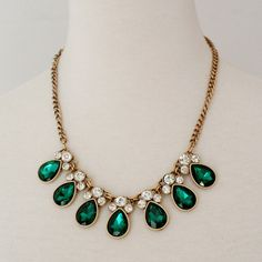 Forest Green Raindrop Jeweled Crystal Statement Necklace Anthropologie... ($9.80) ❤ liked on Polyvore