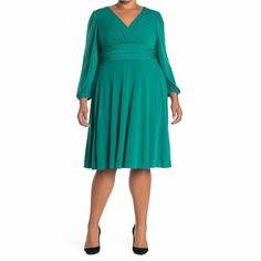 Eliza J Womens V Neck Green Long Sleeve Fit & Flare Dress Fall Plus Sz 22W NWT #ElizaJ #FitFlare #BusinessFormalHolyCommunionPartyCocktailTravelWeddingWorkwear Eliza J Dresses, Fall Dresses, V Neck Dress, Nordstrom Dresses, Fit Flare Dress, Timeless Fashion, Green Dress, Types Of Sleeves, Cold Shoulder Dress