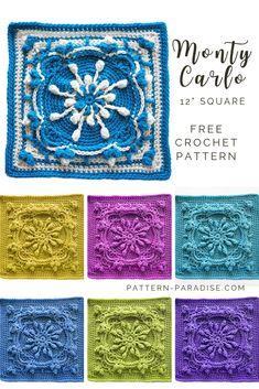 Crochet Motif Patterns, Crochet Blocks, Granny Square Crochet Pattern, Crochet Squares, Crochet Edgings, Loom Patterns, Granny Squares, Unique Crochet, Free Crochet