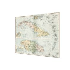Vintage Map of Cuba and Jamaica (1892) Canvas Print