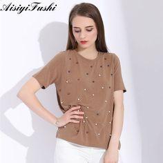 ASY Sommarpärlor Beaded T-Shirt Kvinnor Bomull Svarta Toppar Kvinnor  Kortärmad O-Neck T 54662769a193a