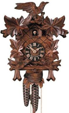 "Hones 12.5"" 1 Day 400/3 Carved Cuckoo Clocks- Hones clock featuring three birds, a nest and four leaves. The two birds on the bottom move as the cuckoo calls on the hour and half hour! It is a charming clock of remarkable skill. Rest assured that you will receive a Black Forest Seal with your clock."