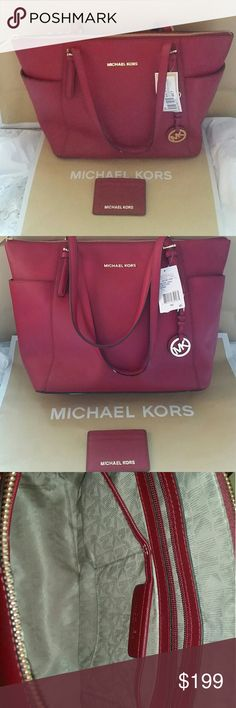Michael Kors Cherry Red Saffiano Jet Set & wallet $268 Michael Kors preowned Cherry Red Jet Set Saffiano Tote, comes with tag. $58 New Cherry Red matching wallet case. Michael Kors Jet Set is large size with minimal imperfections.  Has wear to one handle,  staining interior.  Minor scratches to hardware and bottom. In good condition outside of the noted. Wallet is new, no tags. Matching fabric interior, exterior Holds 3 cards and center open pocket!  Makes a great set! Smoke free home  Even…