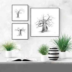 Black and white ink drawings of baobab trees your bedroom or living room. Visit my Etsy store to shop my range of wall art prints and print sets inspired by African nature. #etsy #DIY #livingroom #bedroom #ideas #simple #large #blackandwhite #joshua #desert #nature #prints #decor #bathroom #kitchen #minimalist #sets #minimal #modern #tree Grey Wall Art, Black And White Wall Art, White Ink, Artwork For Living Room, Living Room Pictures, Diy Room Decor, Wall Art Decor, Wall Art Prints, Charcoal Drawings