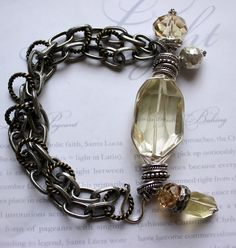 Holiday Sale bracelet truth seeker citrine wire by molliecarey