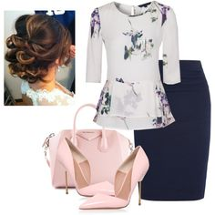 Navy pencil skirt, white watercolor peplum top, light pink heels