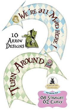 ALICE IN WONDERLAND Party Signs, Alice in Wonderland Arrows, Alice in Wonderland Decorations, Alice in Wonderland Birthday Party, Printable Signs, Alice Party Decoration, Alice ❤ WELCOME TO LYTHIUM ART SHOP! ❤ ALICE IN WONDERLAND PARTY SIGNS - 10 ARROW PACK 10 Super fun direction arrows
