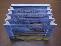 Postcard haiku accordion book; 5-6th grade