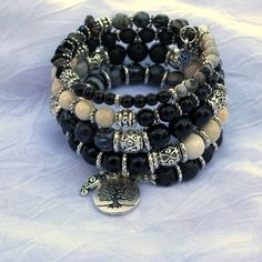 Tree of Life: Black & White Jasper, Black Onyx and  Silver Memory Wire Bracelet