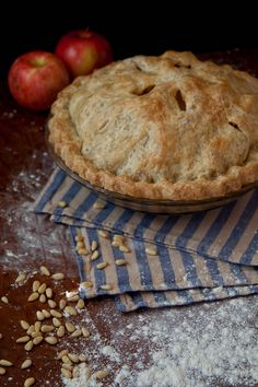 Apple Pie with Apricots and Pine Nuts and a Rosemary Crust - vegan!