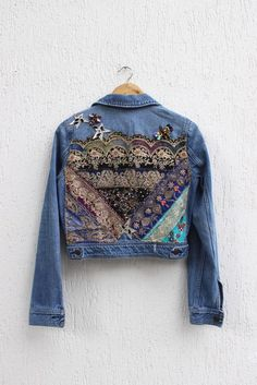 Items similar to Boho Inspired Embroidered Jeans Jacket / Vintage Indian Patch appliqué /Handmade Reworked Jean Jacket/ Small on Etsy Studded Jacket, Studded Jeans, Jeans Denim, Patched Jeans, Jacket Jeans, Cropped Jeans, Jean Vintage, Vintage Jeans, Jeans Petite